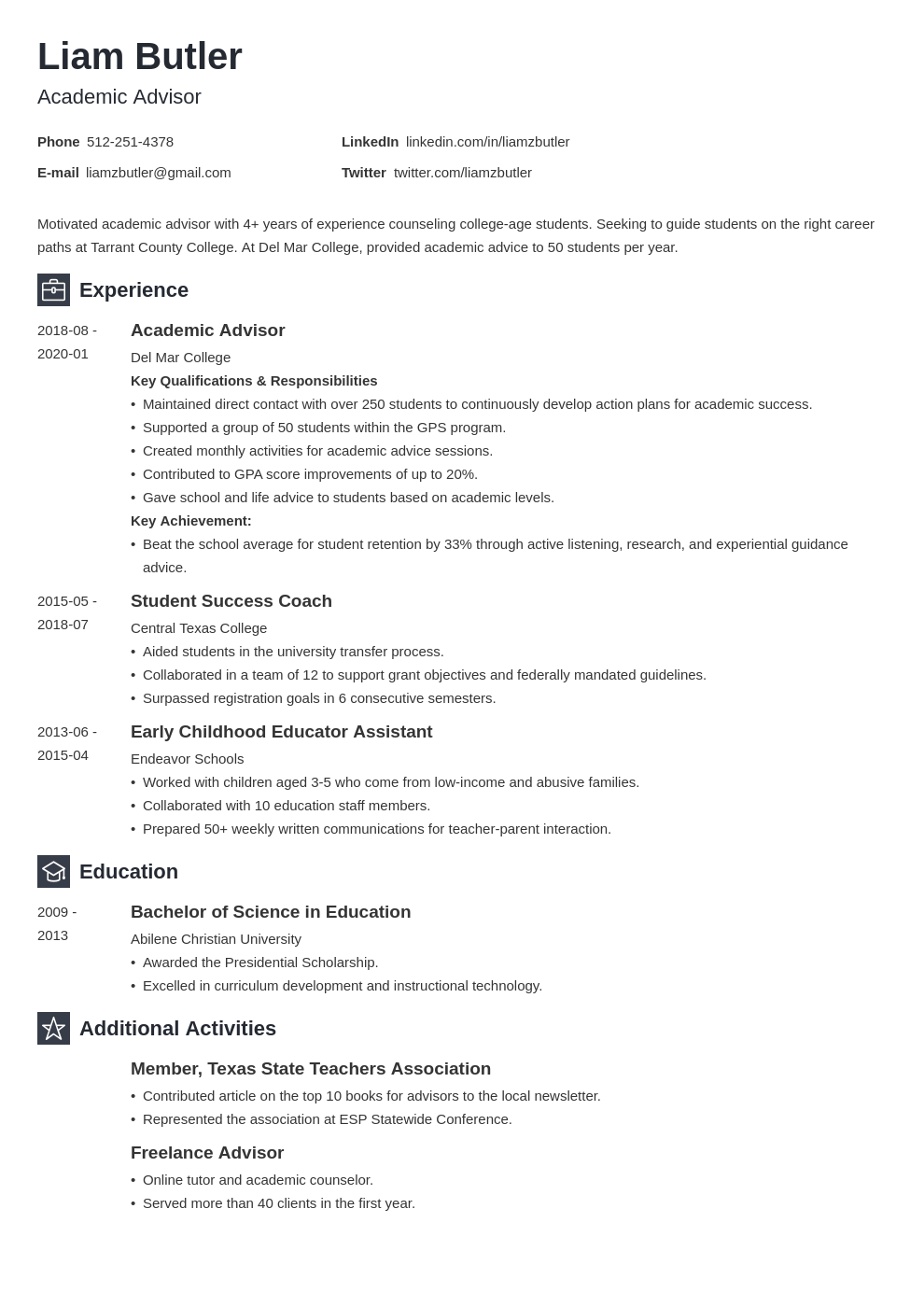 academic advisor resume example template newcast