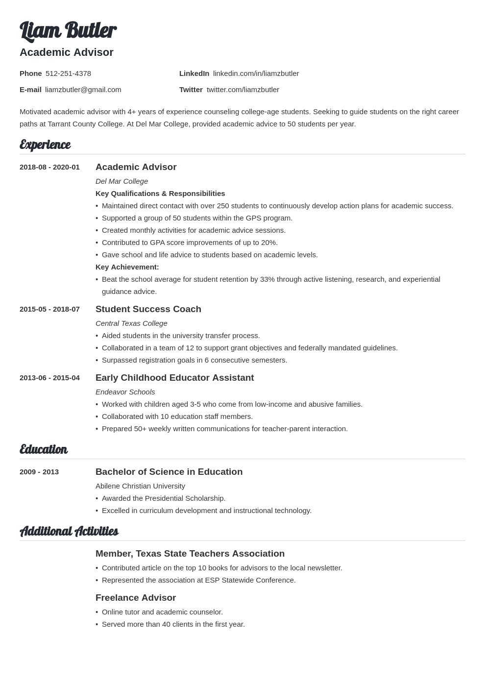 academic advisor resume example template valera