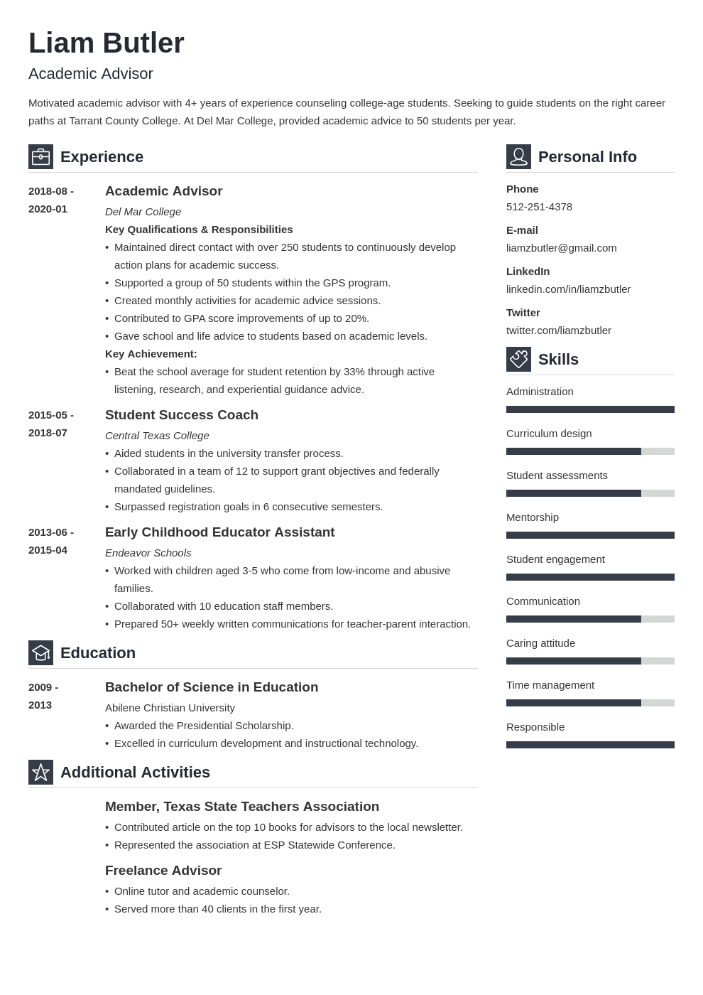 academic advisor resume example template vibes
