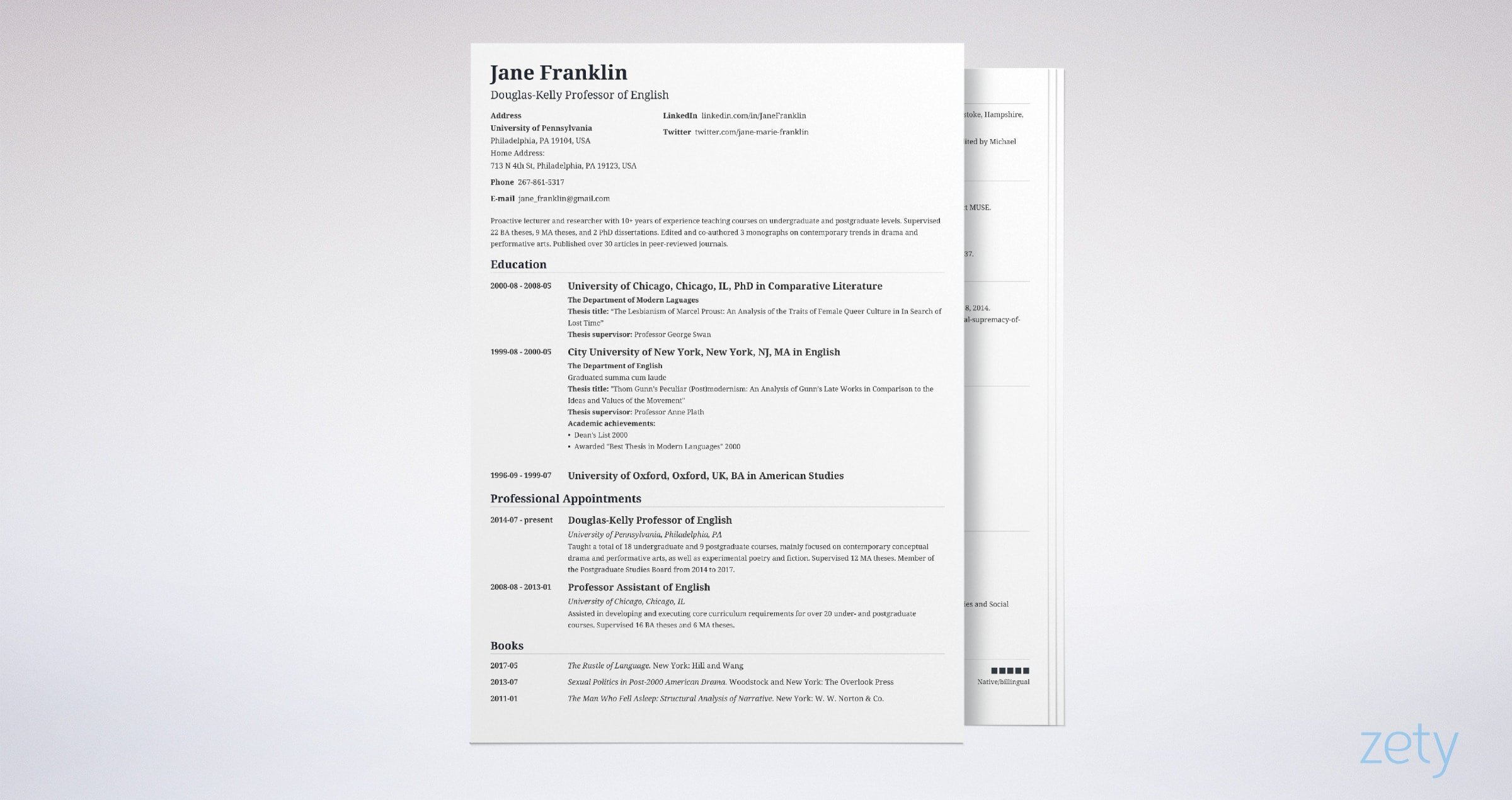 example of four page academic cv with sidebar