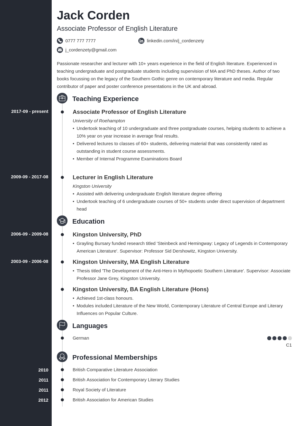 academic cv example template concept