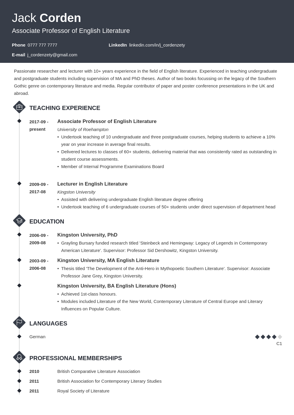 academic cv example template diamond