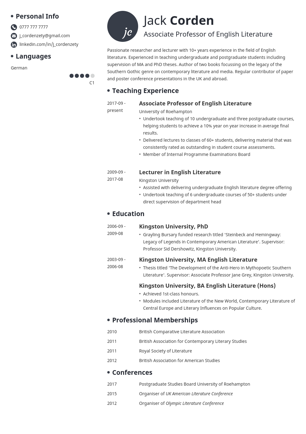 academic cv example template initials