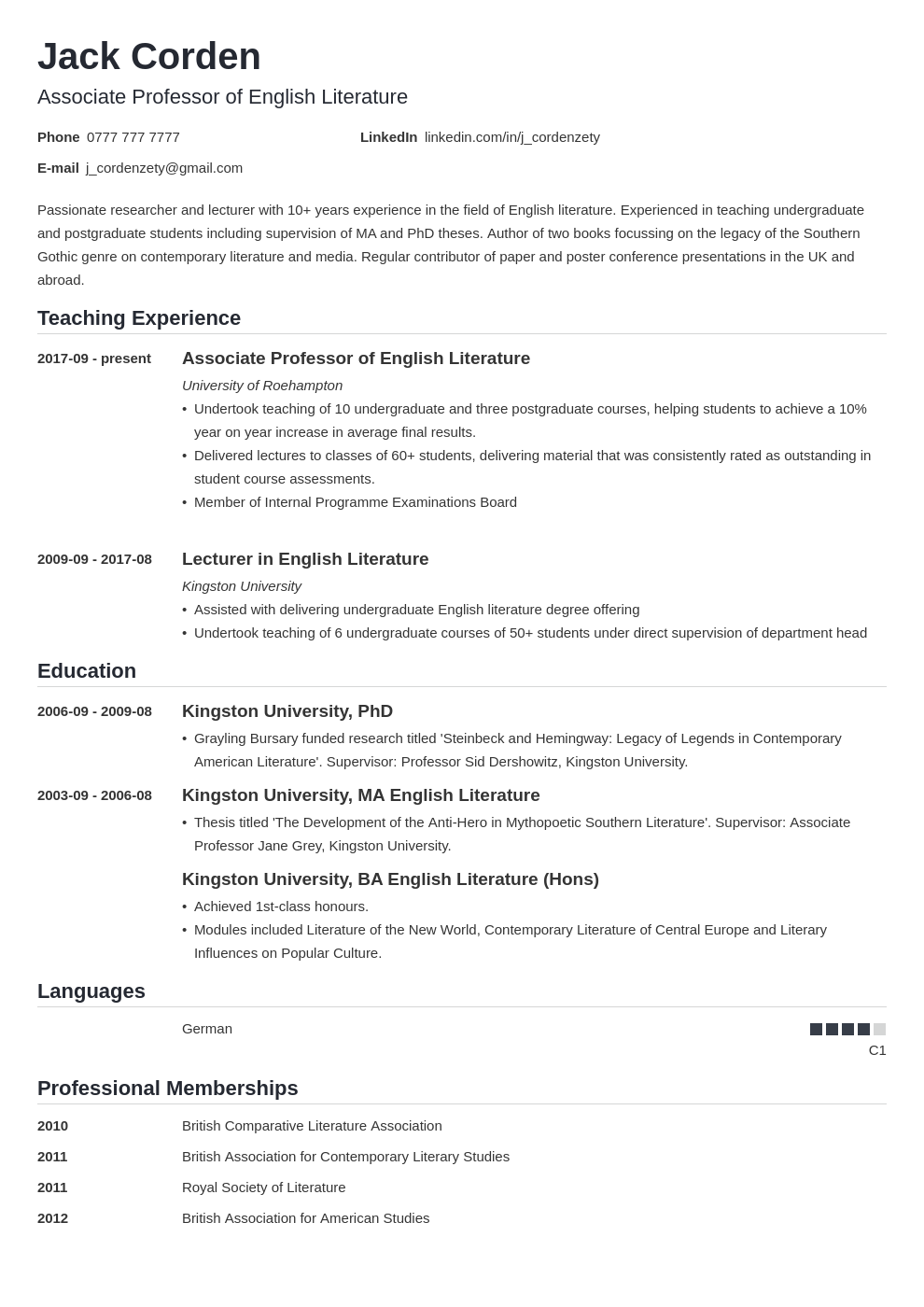 Academic Cv Curriculum Vitae Template Examples Guide