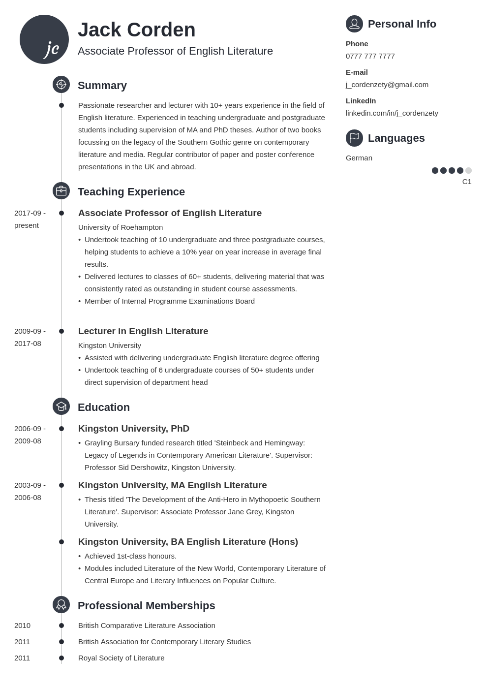 academic cv example template primo