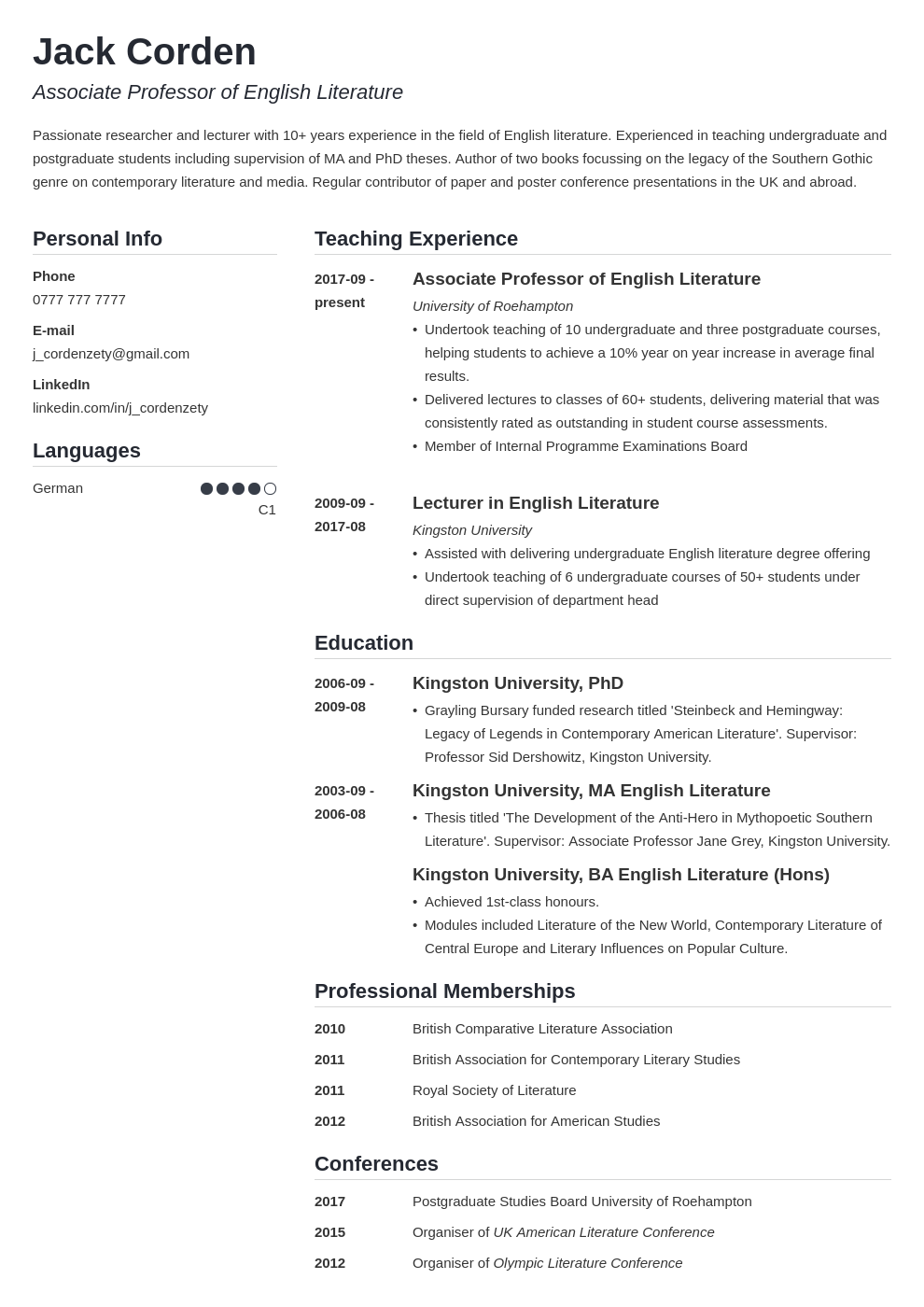 academic cv example template simple