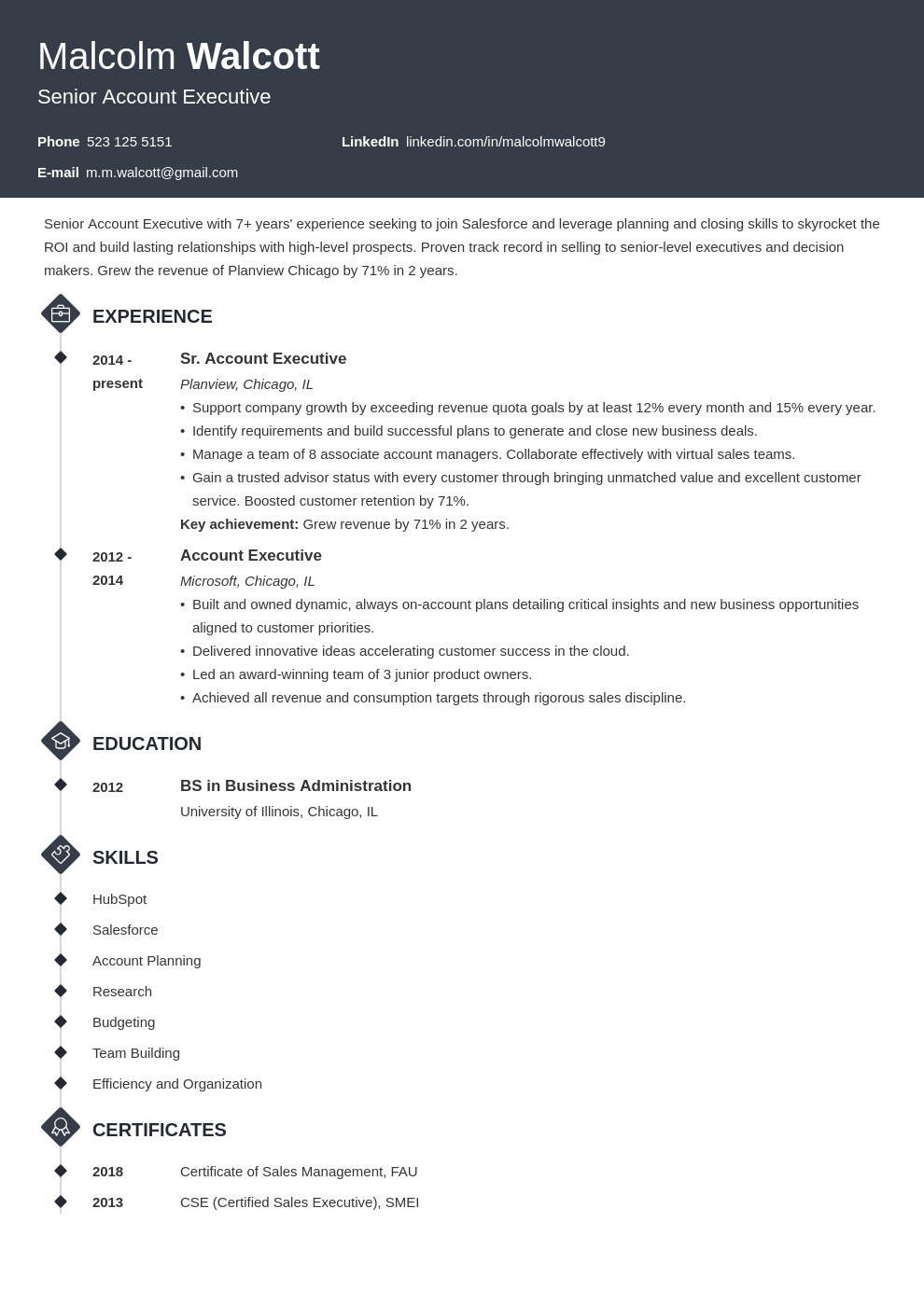 account executive resume example template diamond