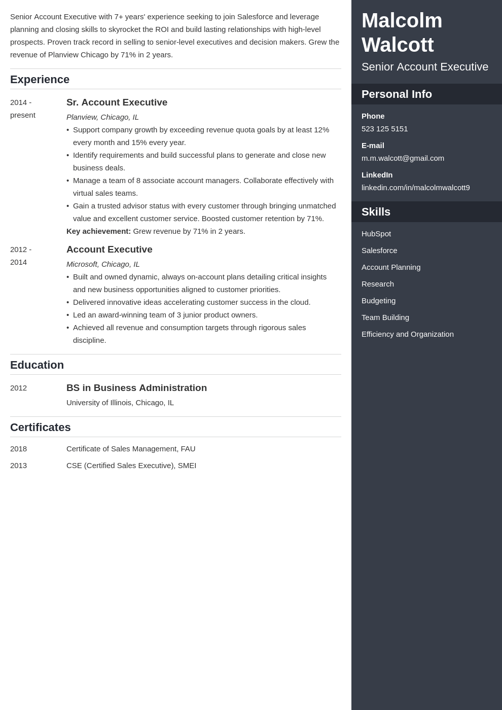 account executive resume example template enfold