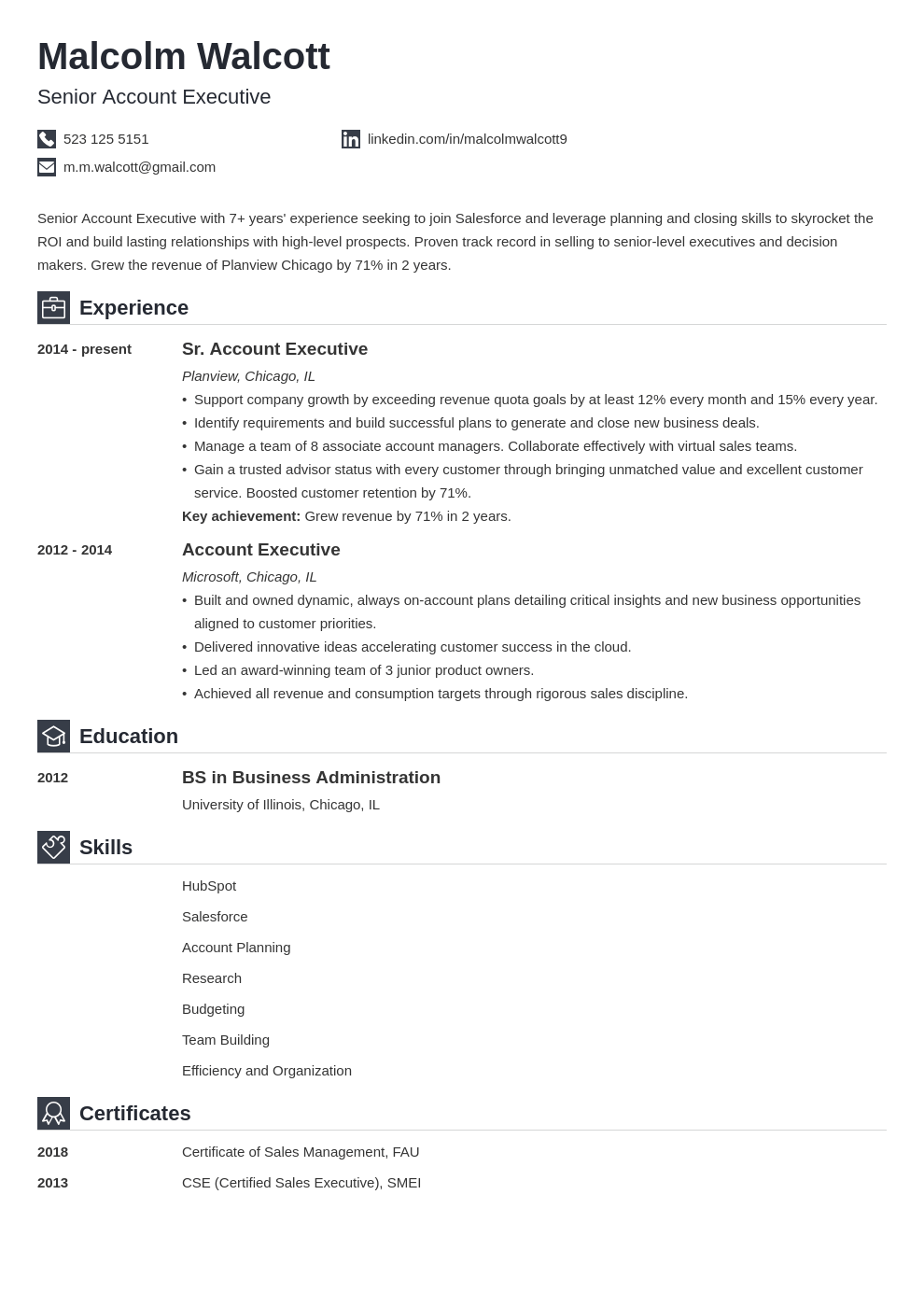 account executive resume example template iconic
