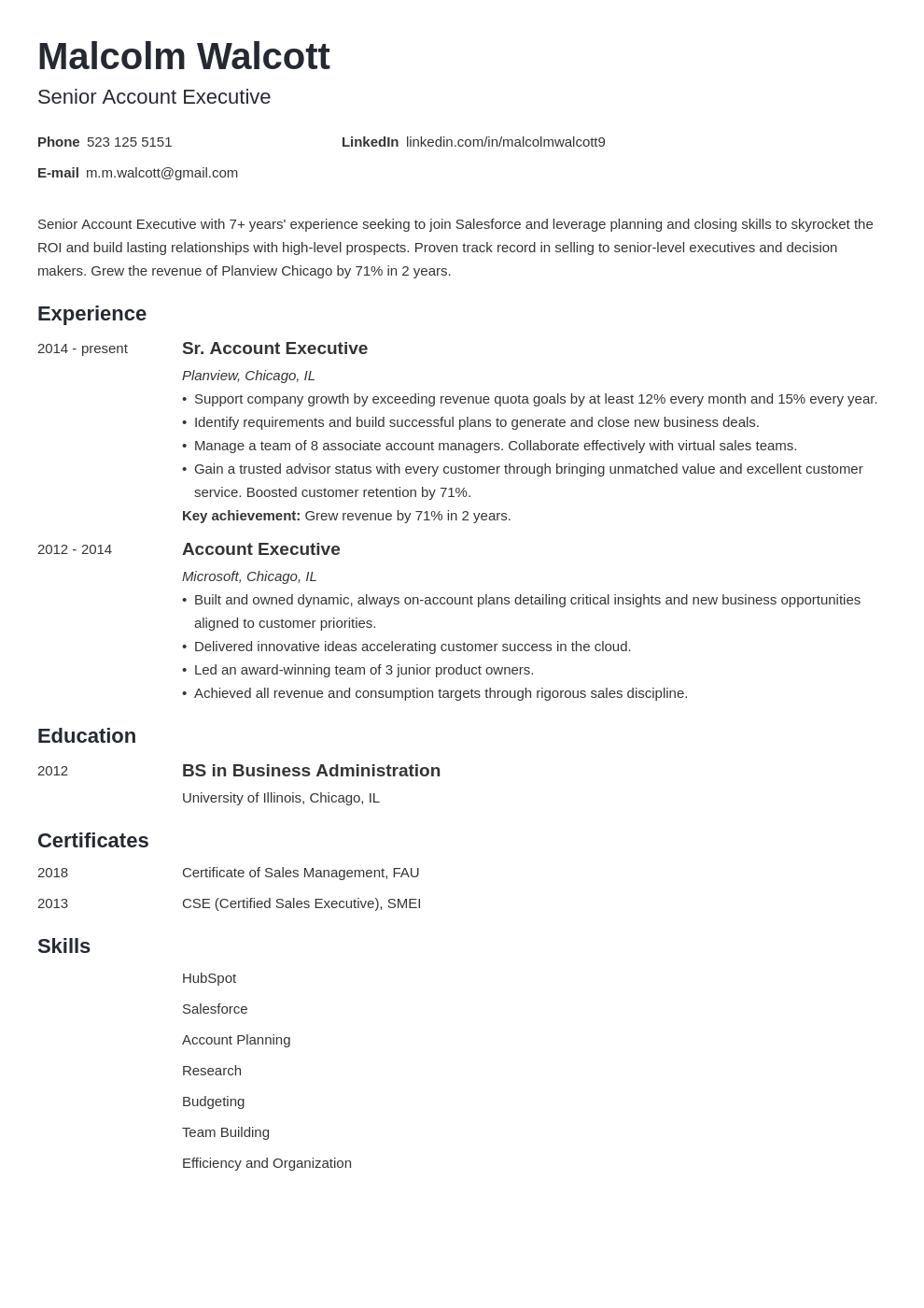 account executive resume example template minimo
