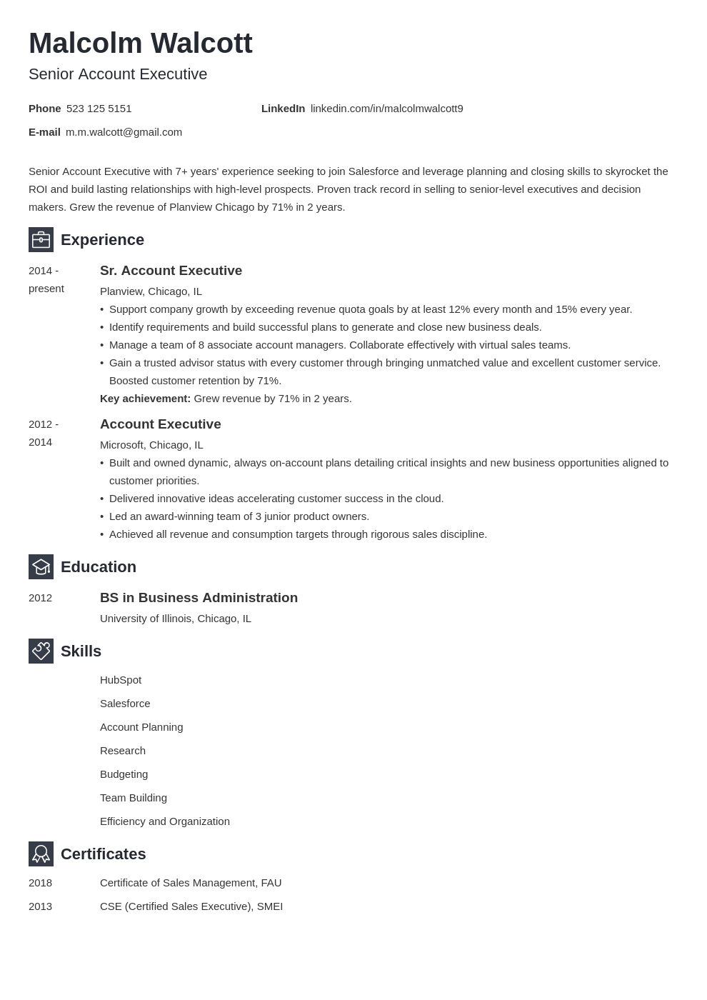 account executive resume example template newcast