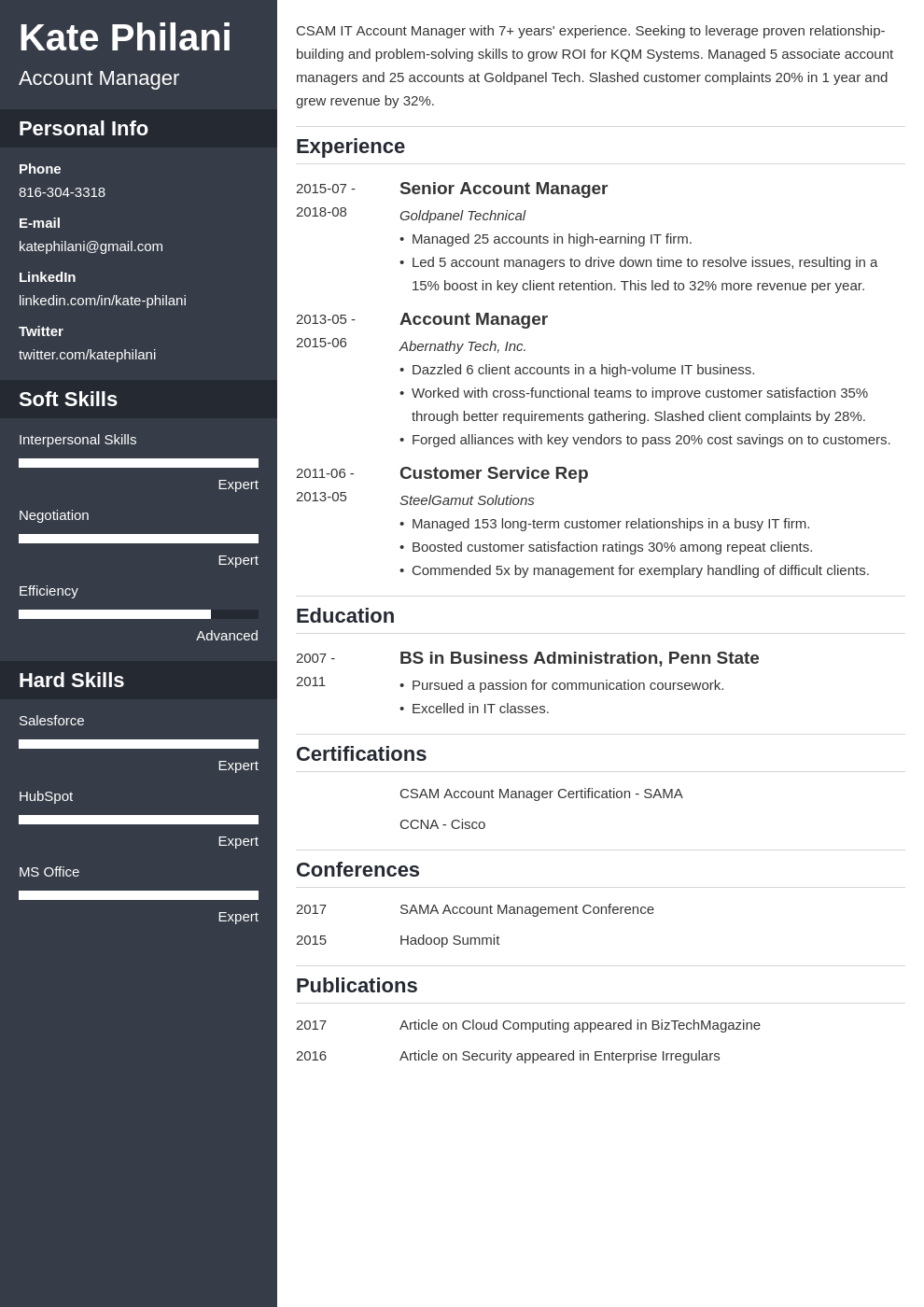 account manager resume example template cascade