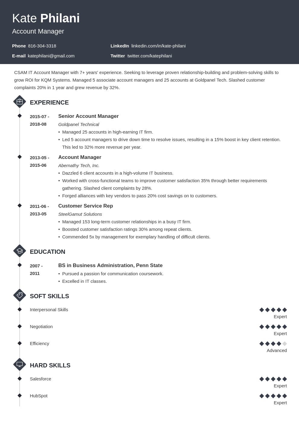 account manager resume example template diamond