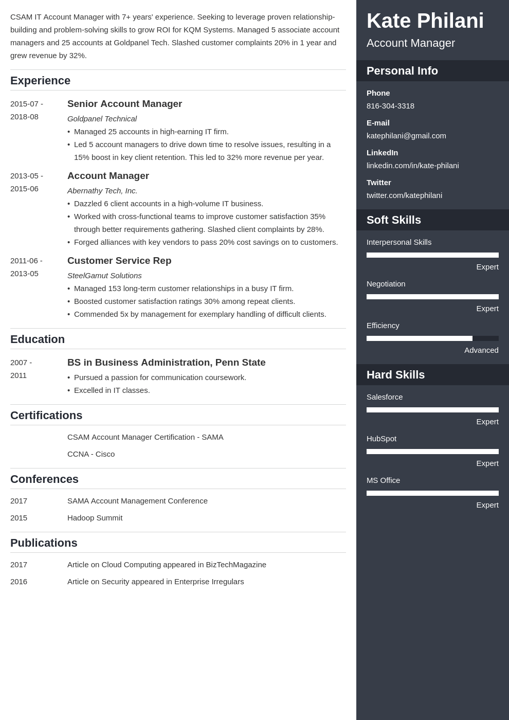 account manager resume example template enfold
