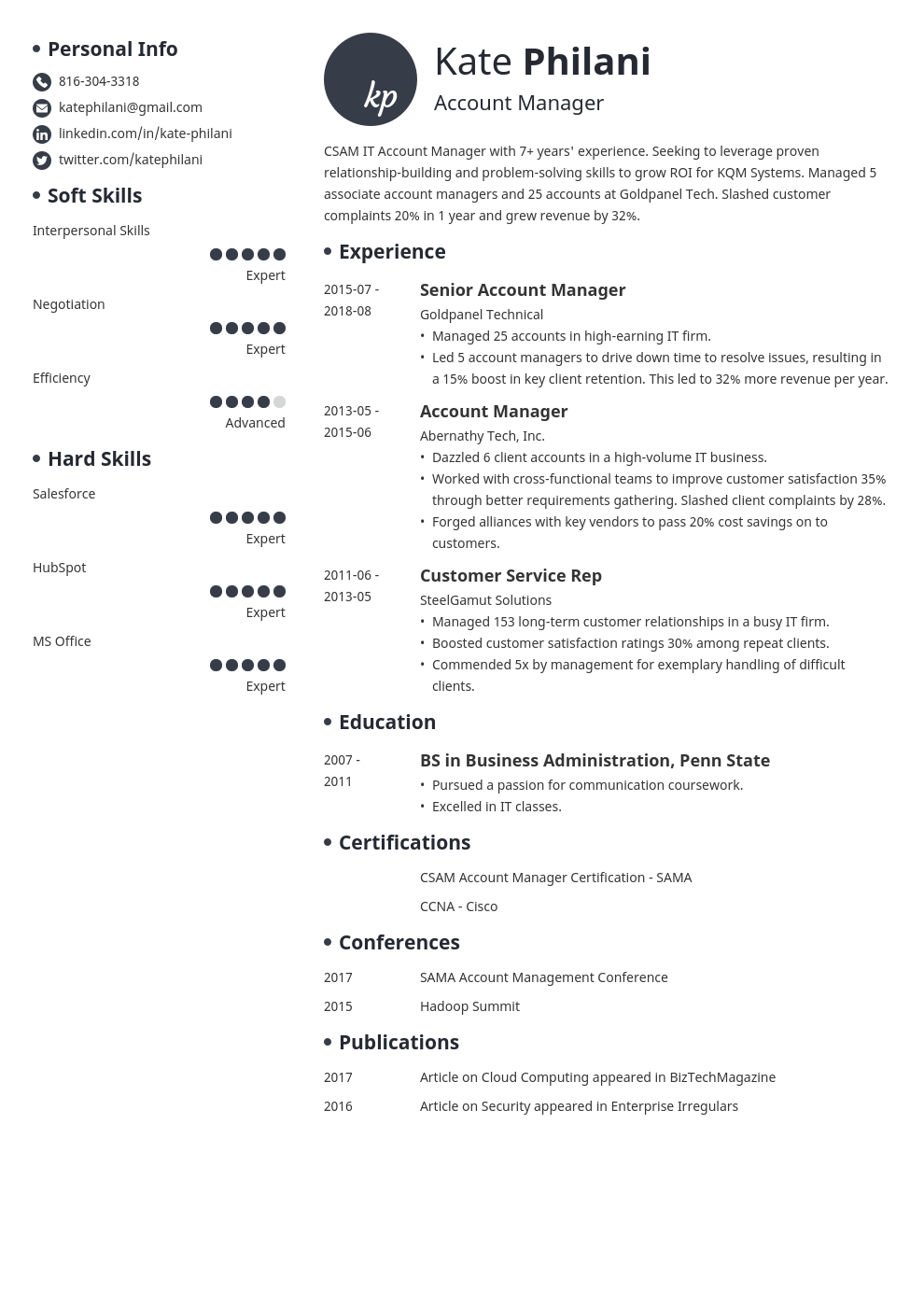 account manager resume example template initials