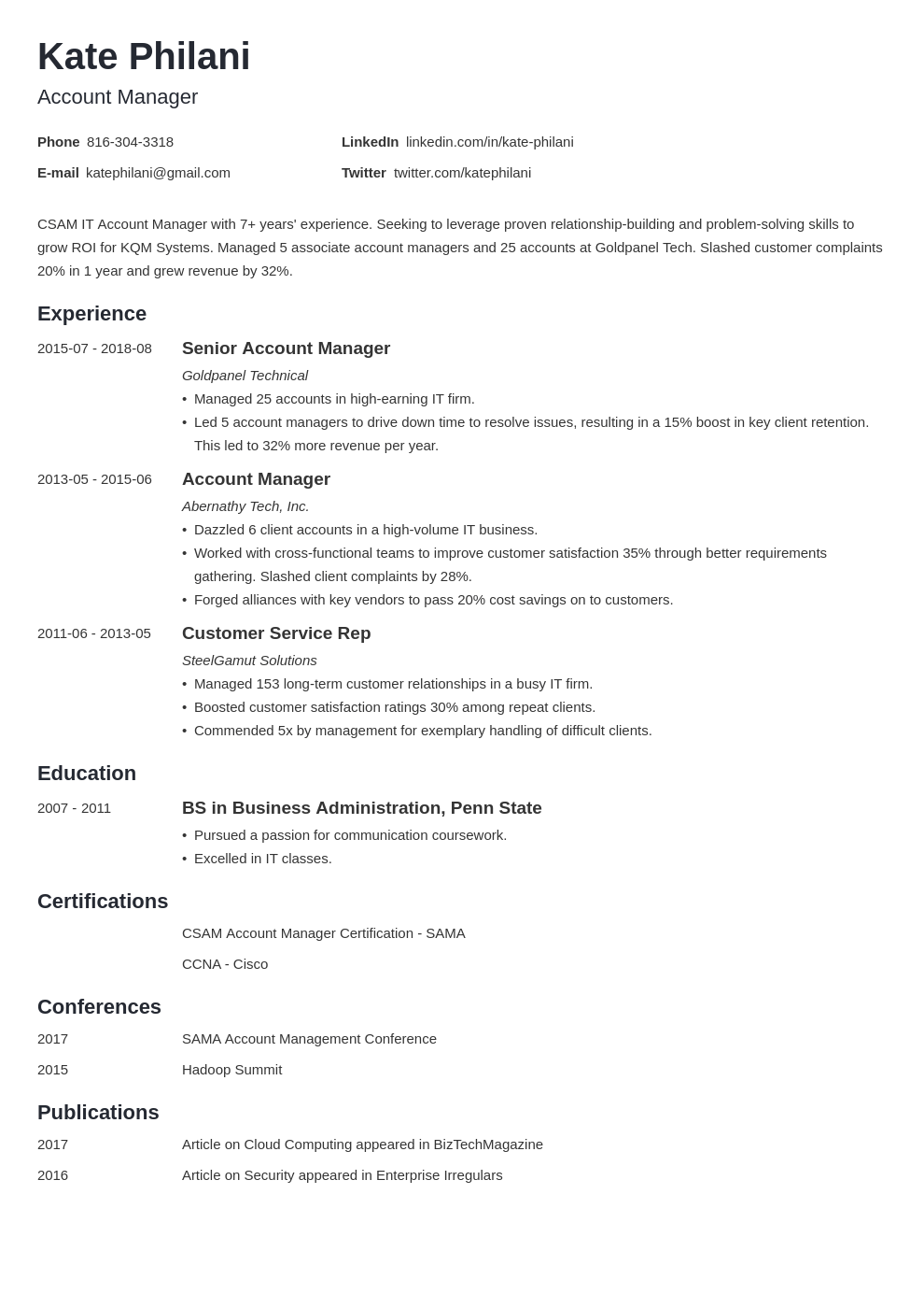 account manager resume example template minimo