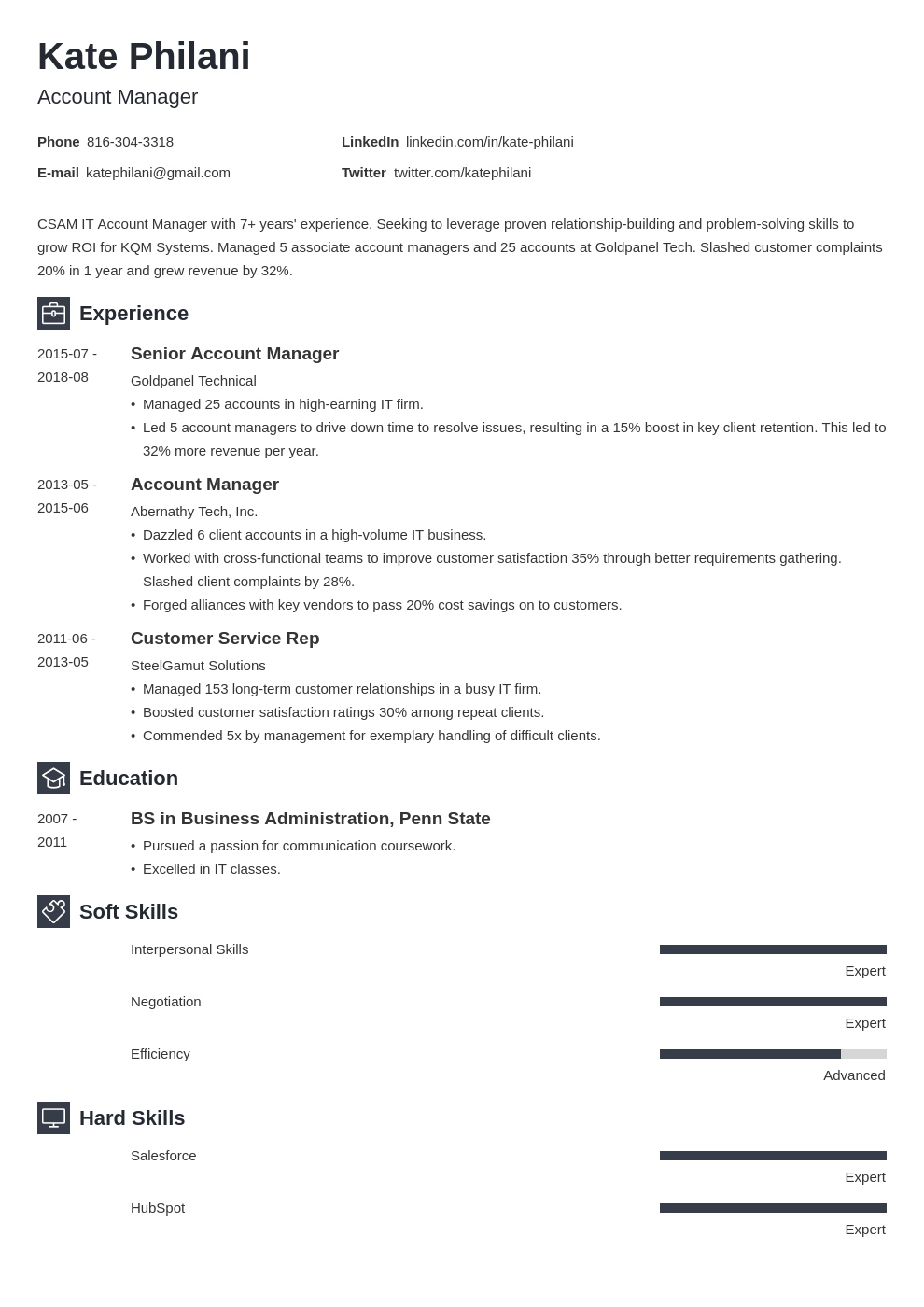 account manager resume example template newcast