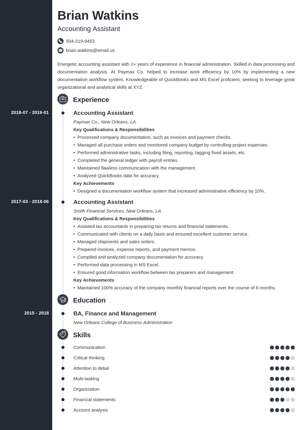 accounting assistant resume example template concept