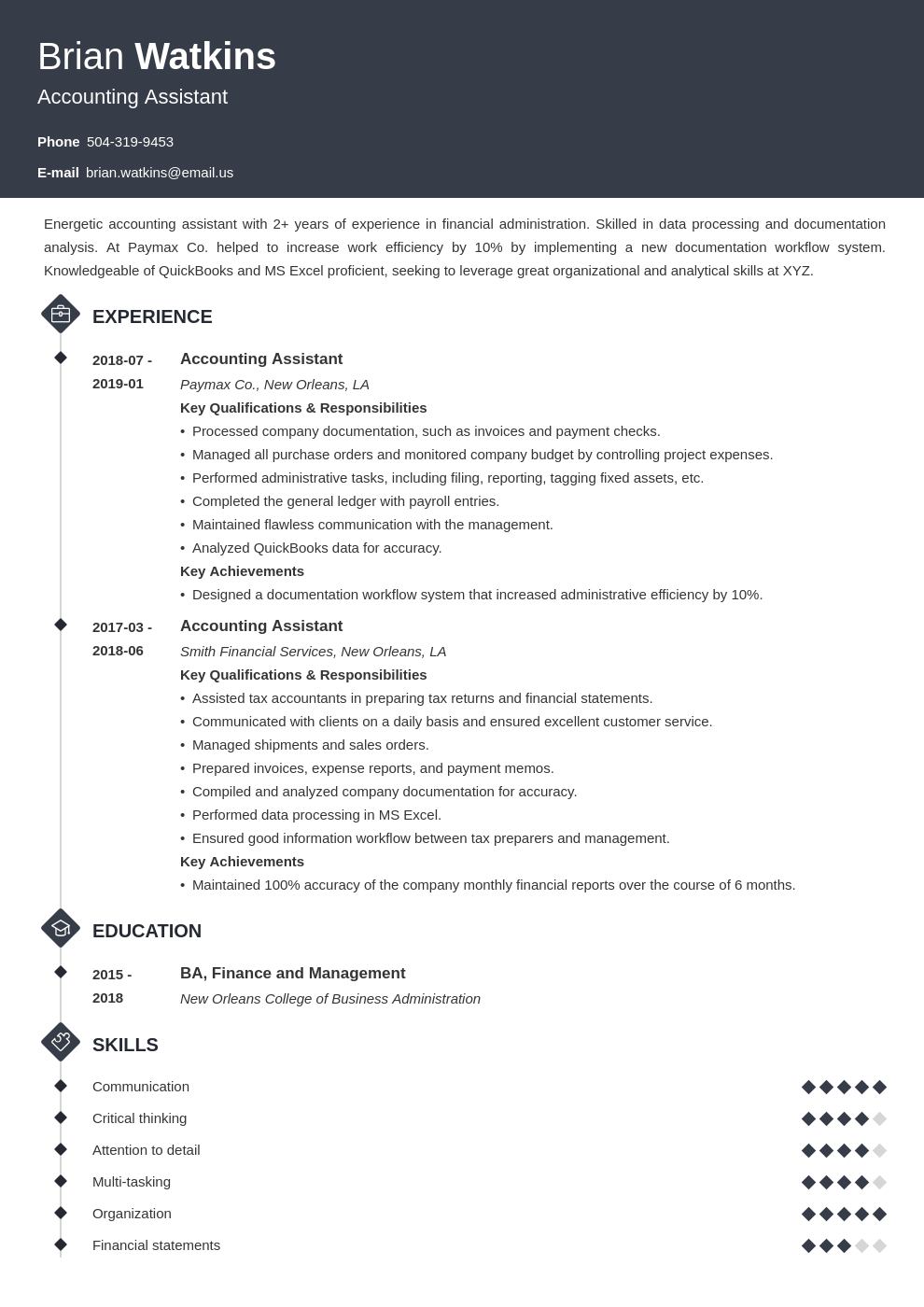 accounting assistant resume example template diamond