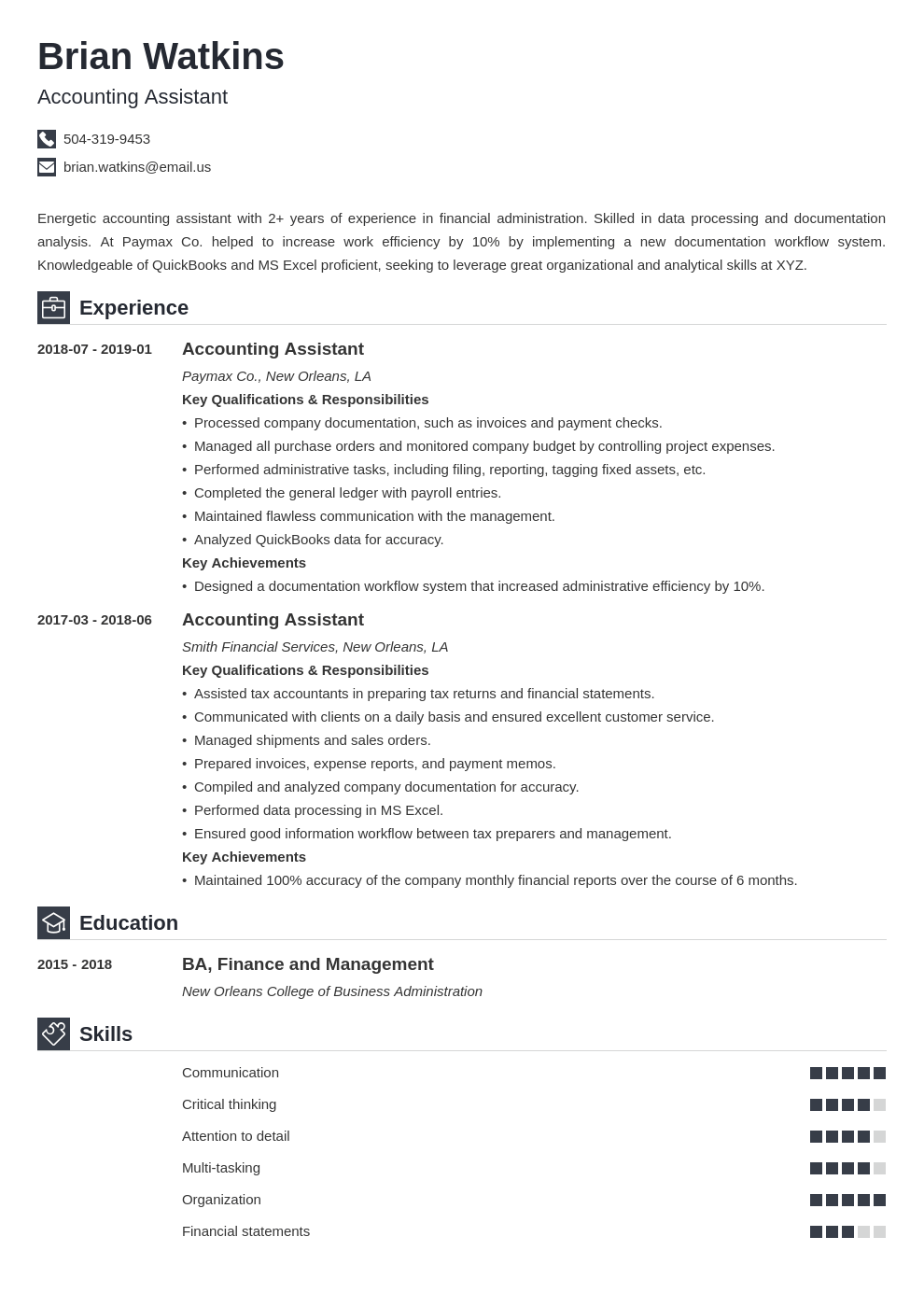 accounting assistant resume example template iconic