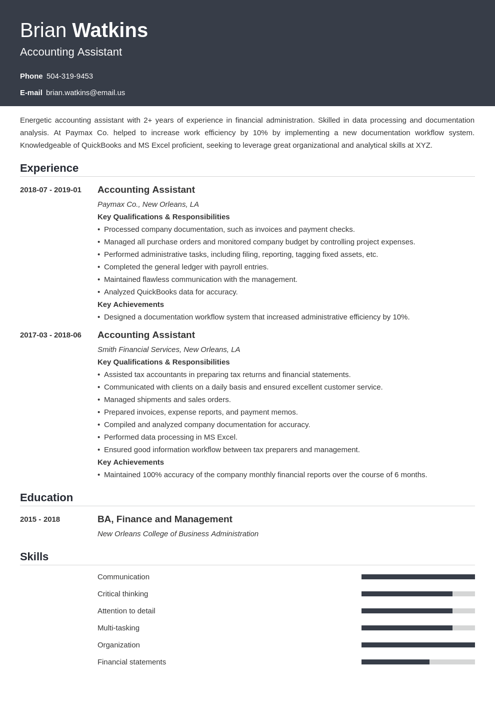 accounting assistant resume example template influx