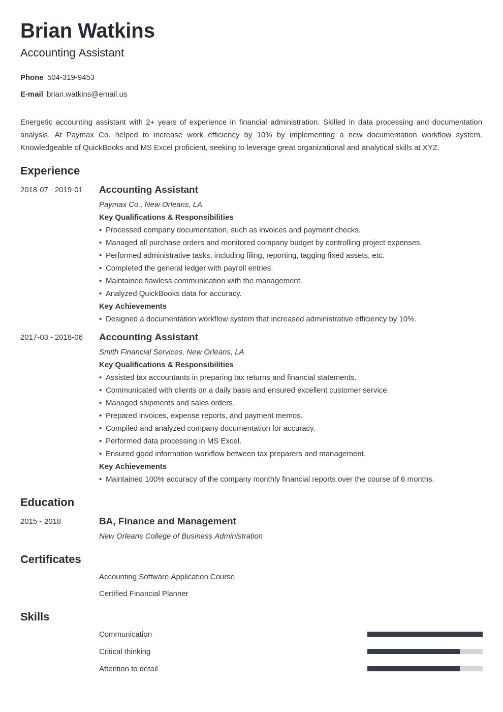 accounting assistant resume example template minimo