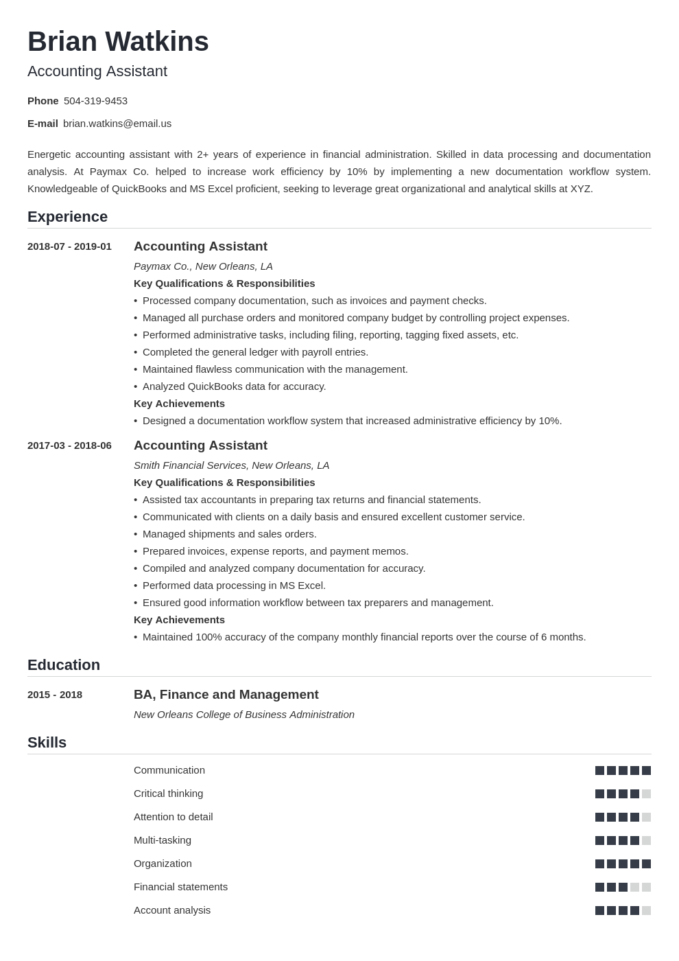 accounting assistant resume example template nanica