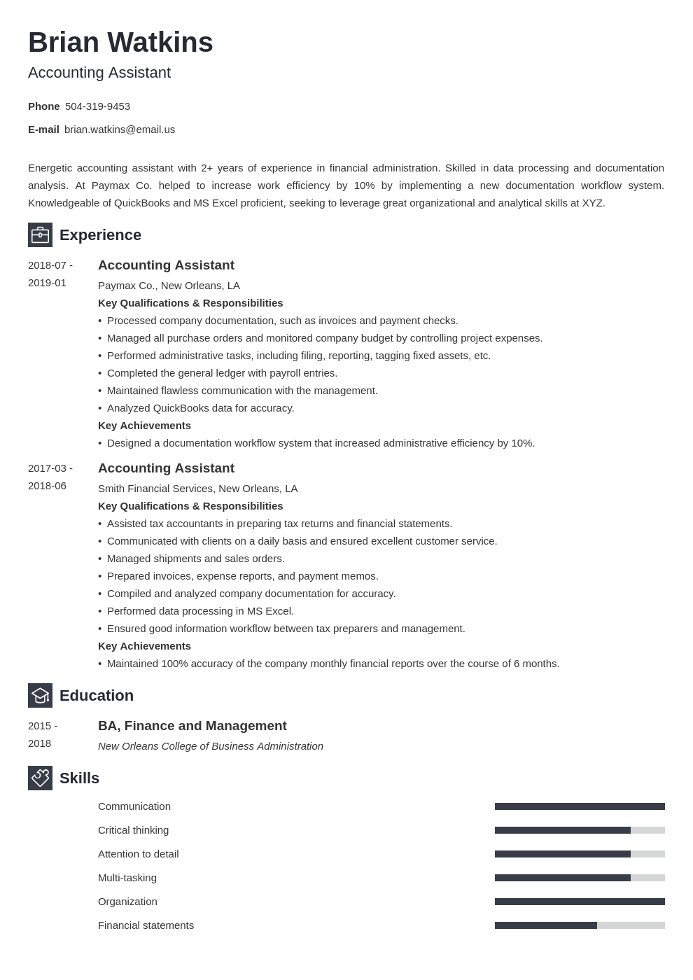 accounting assistant resume example template newcast