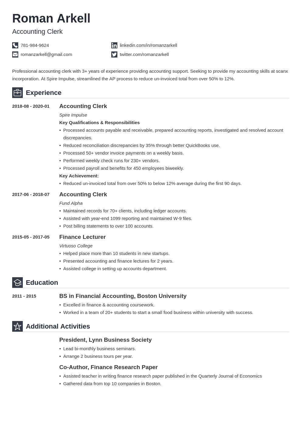 accounting clerk resume example template iconic