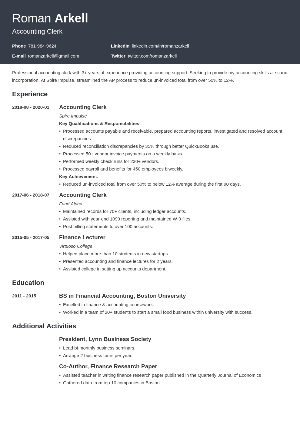 accounting clerk resume example template influx