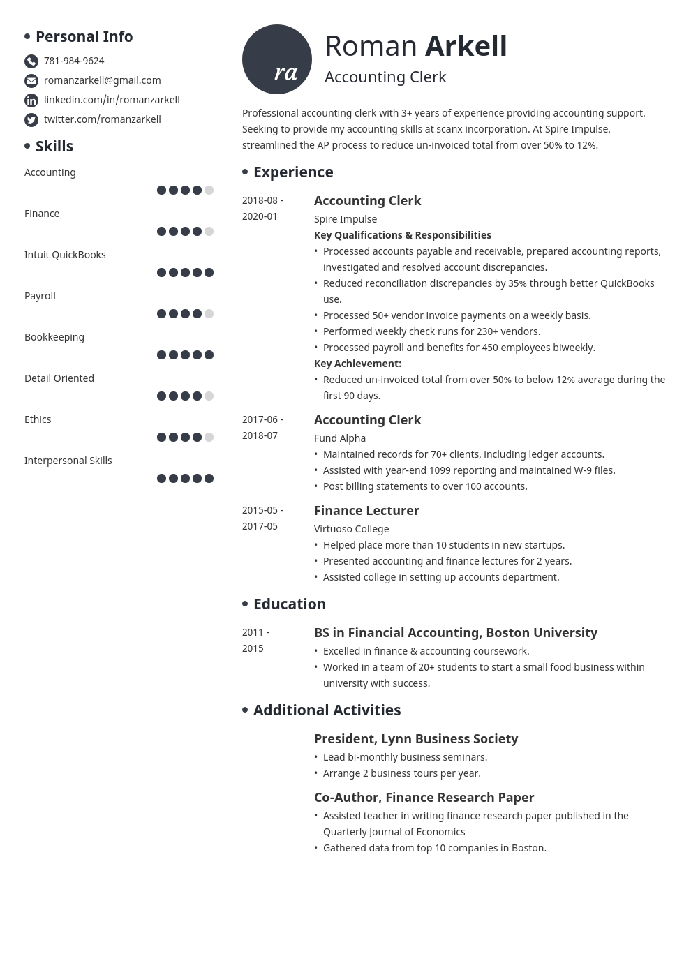accounting clerk resume example template initials