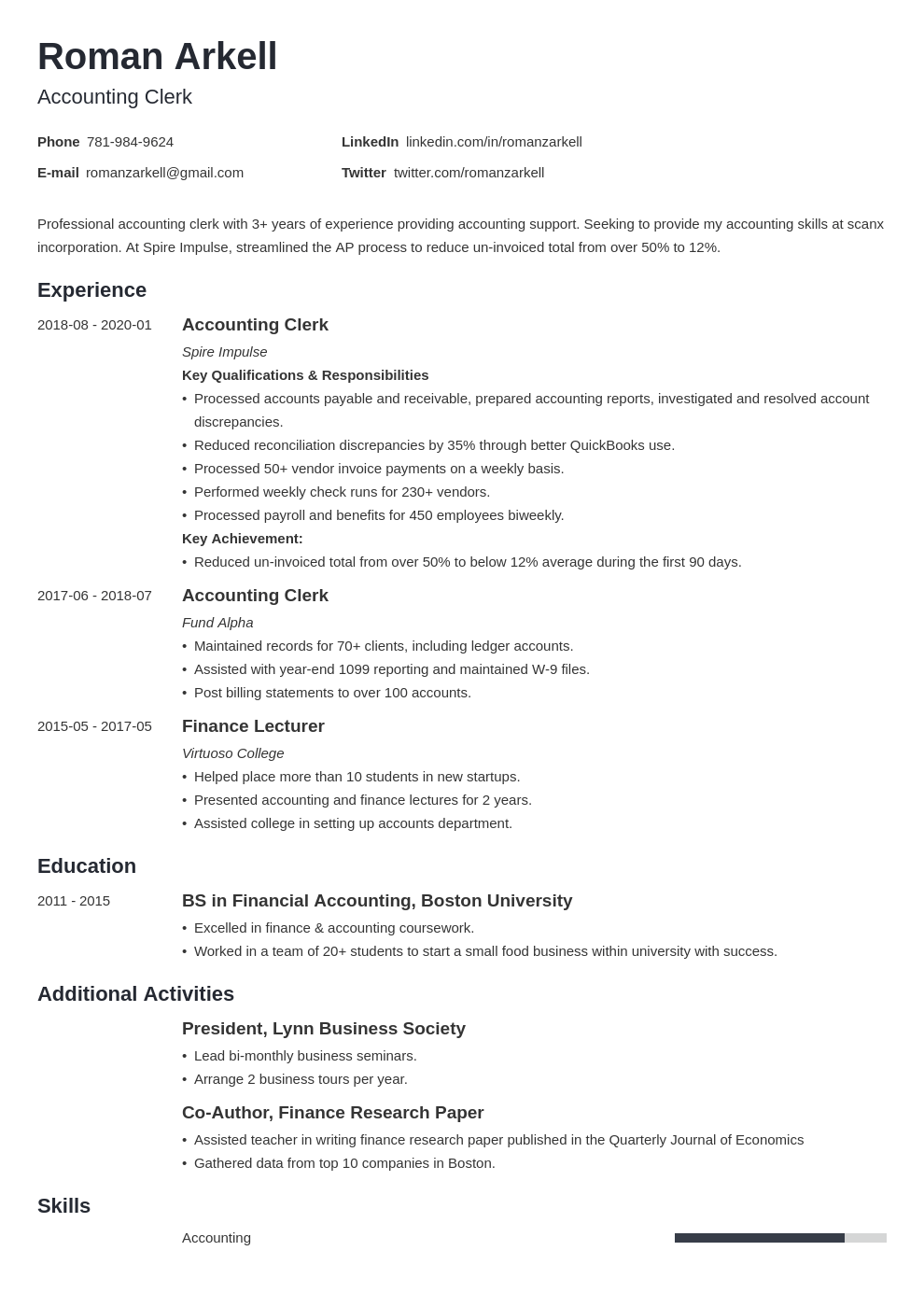 accounting clerk resume example template minimo