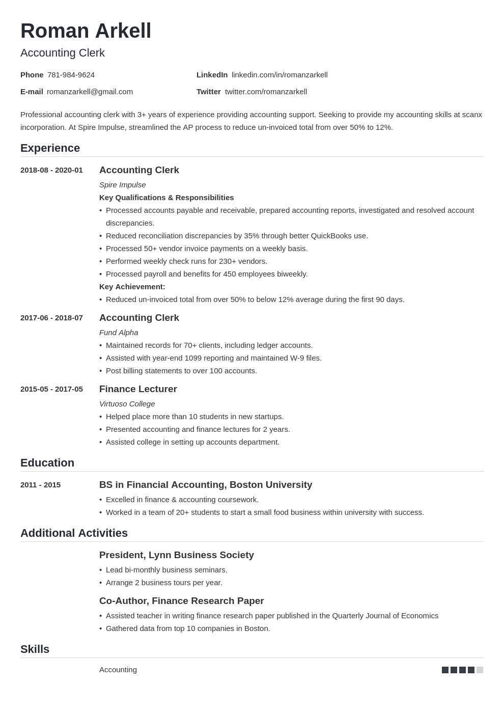 accounting clerk resume example template nanica