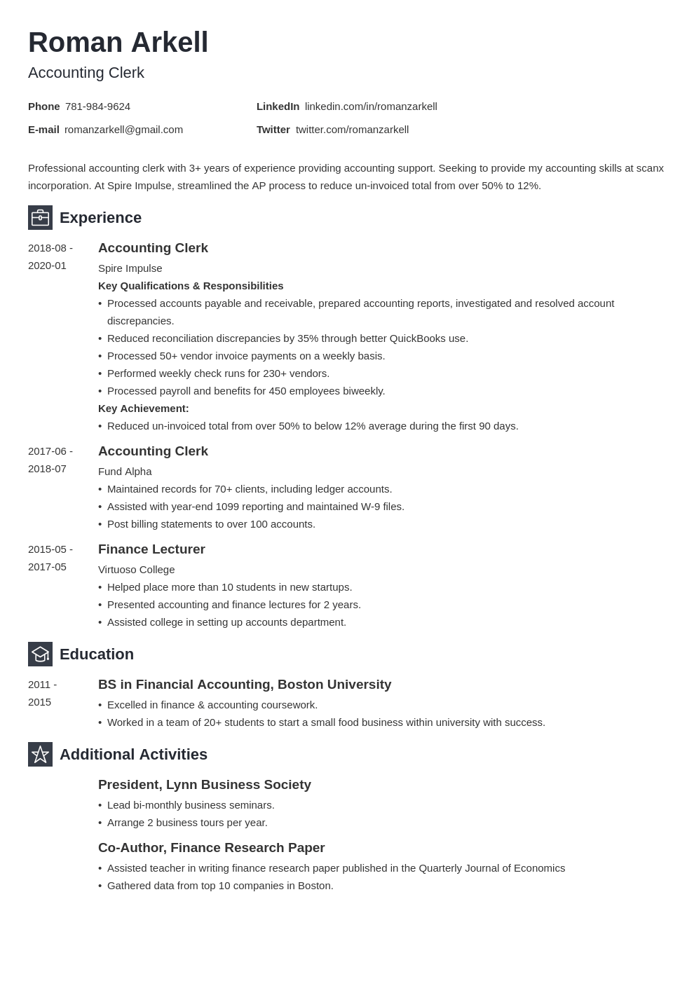 accounting clerk resume example template newcast
