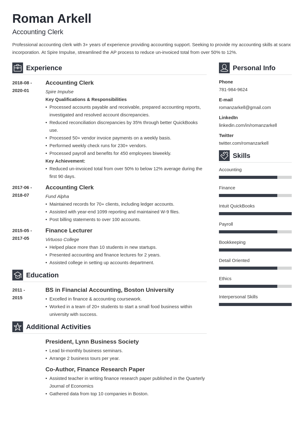 accounting clerk resume example template vibes