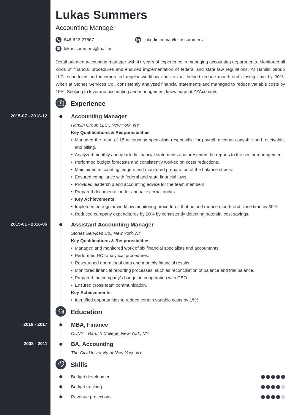 accounting manager resume example template concept