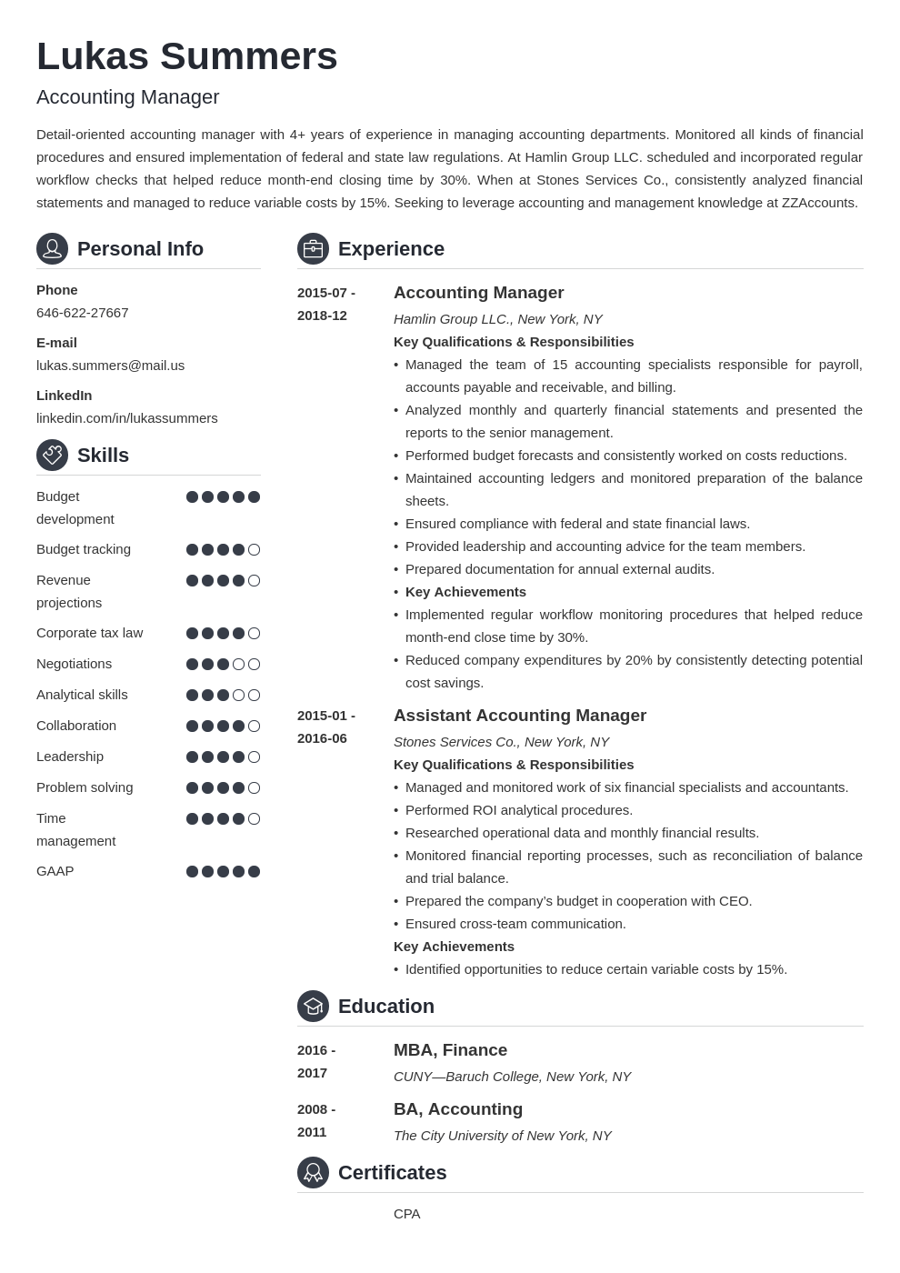 accounting manager resume example template crisp