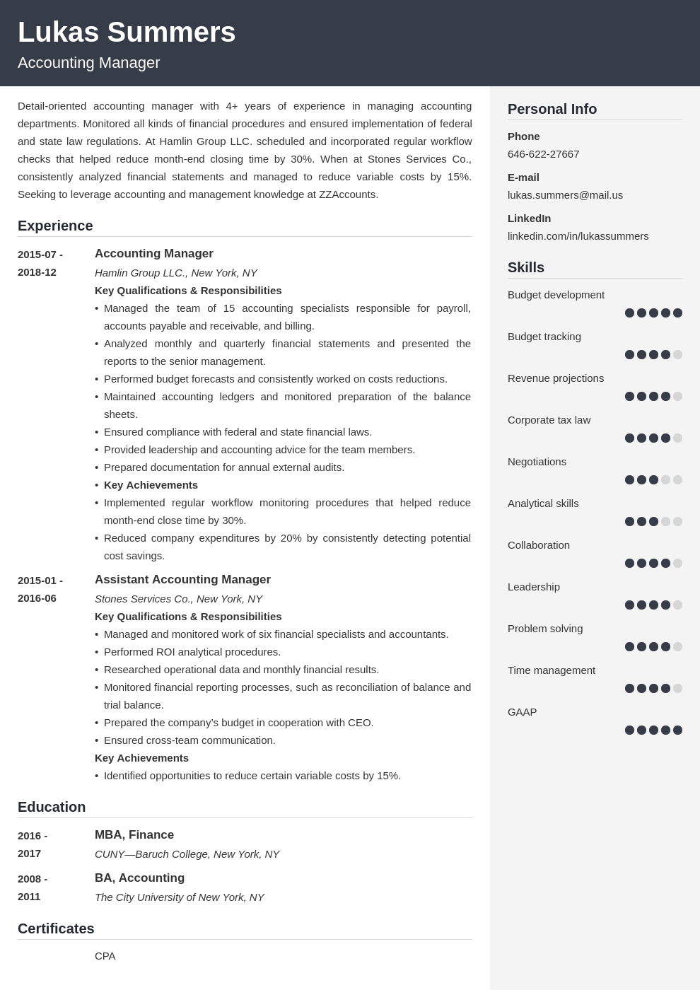accounting manager resume example template cubic