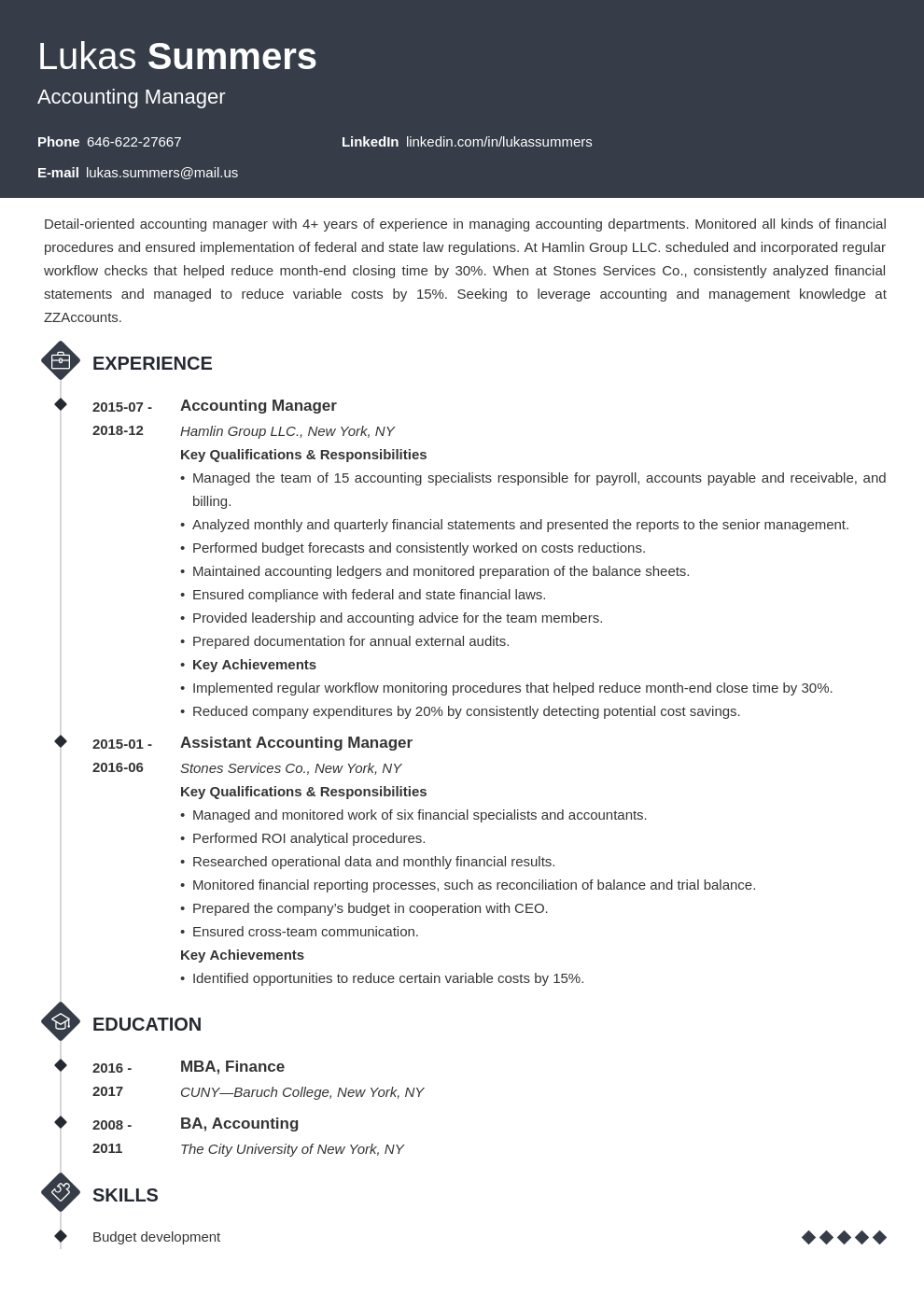accounting manager resume example template diamond