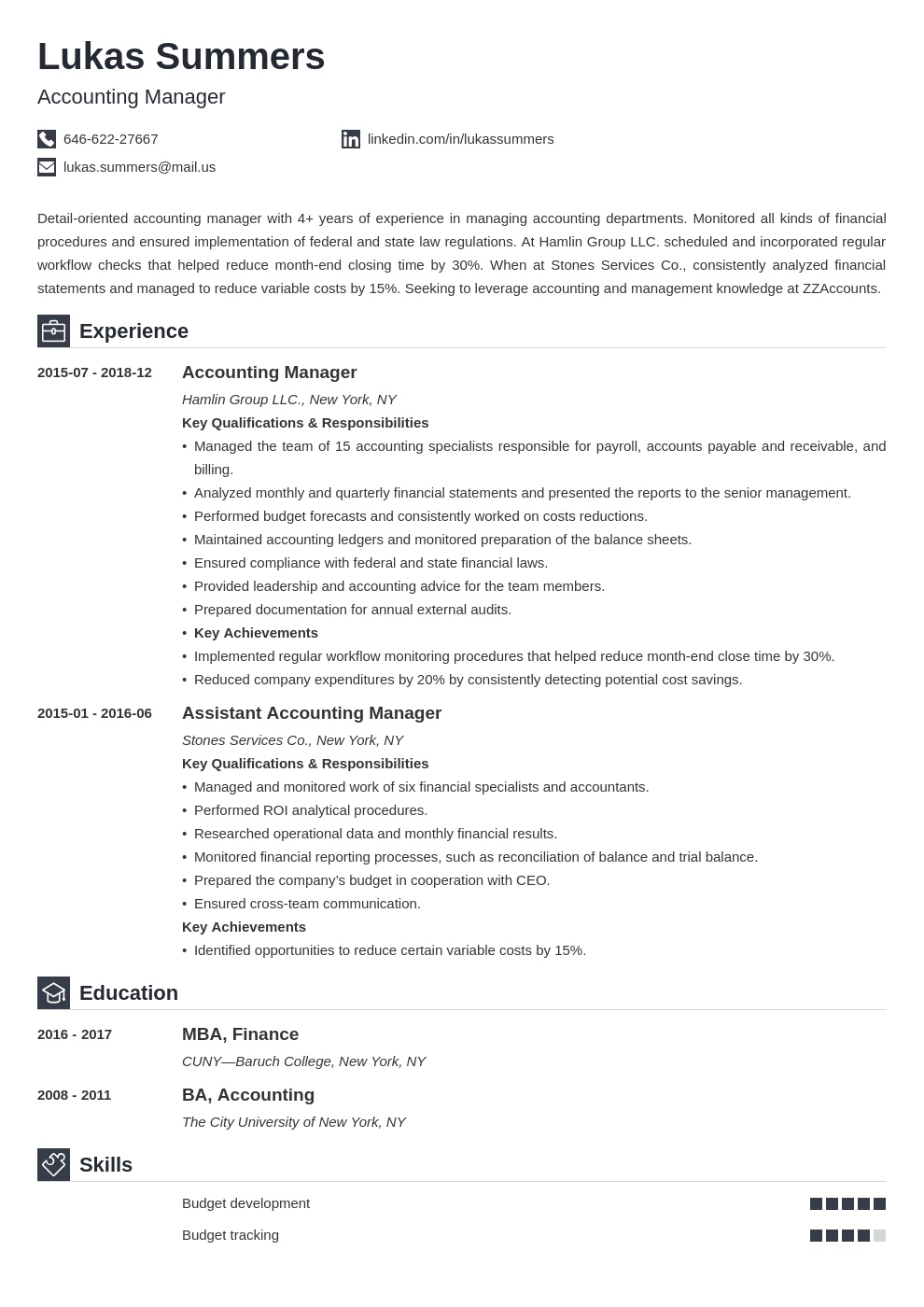 accounting manager resume example template iconic