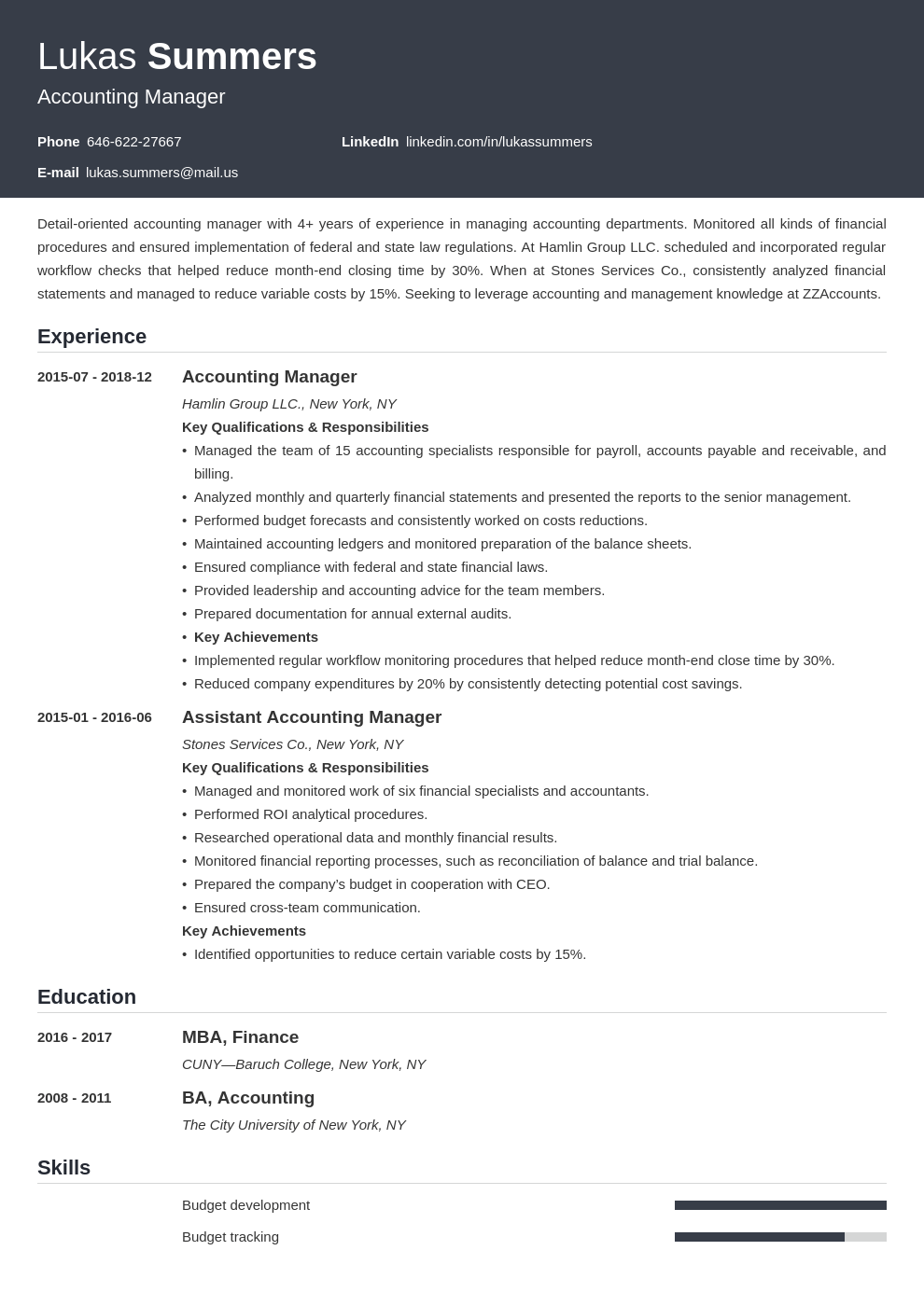 accounting manager resume example template influx