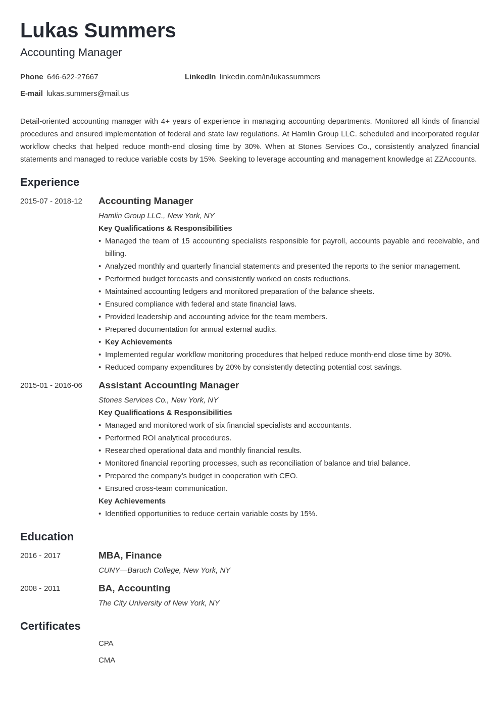 accounting manager resume example template minimo