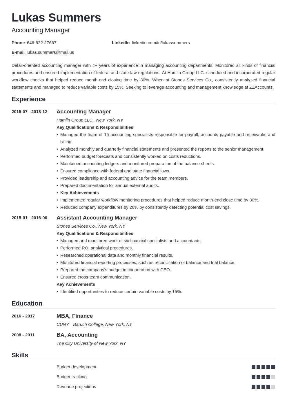 accounting manager resume example template nanica