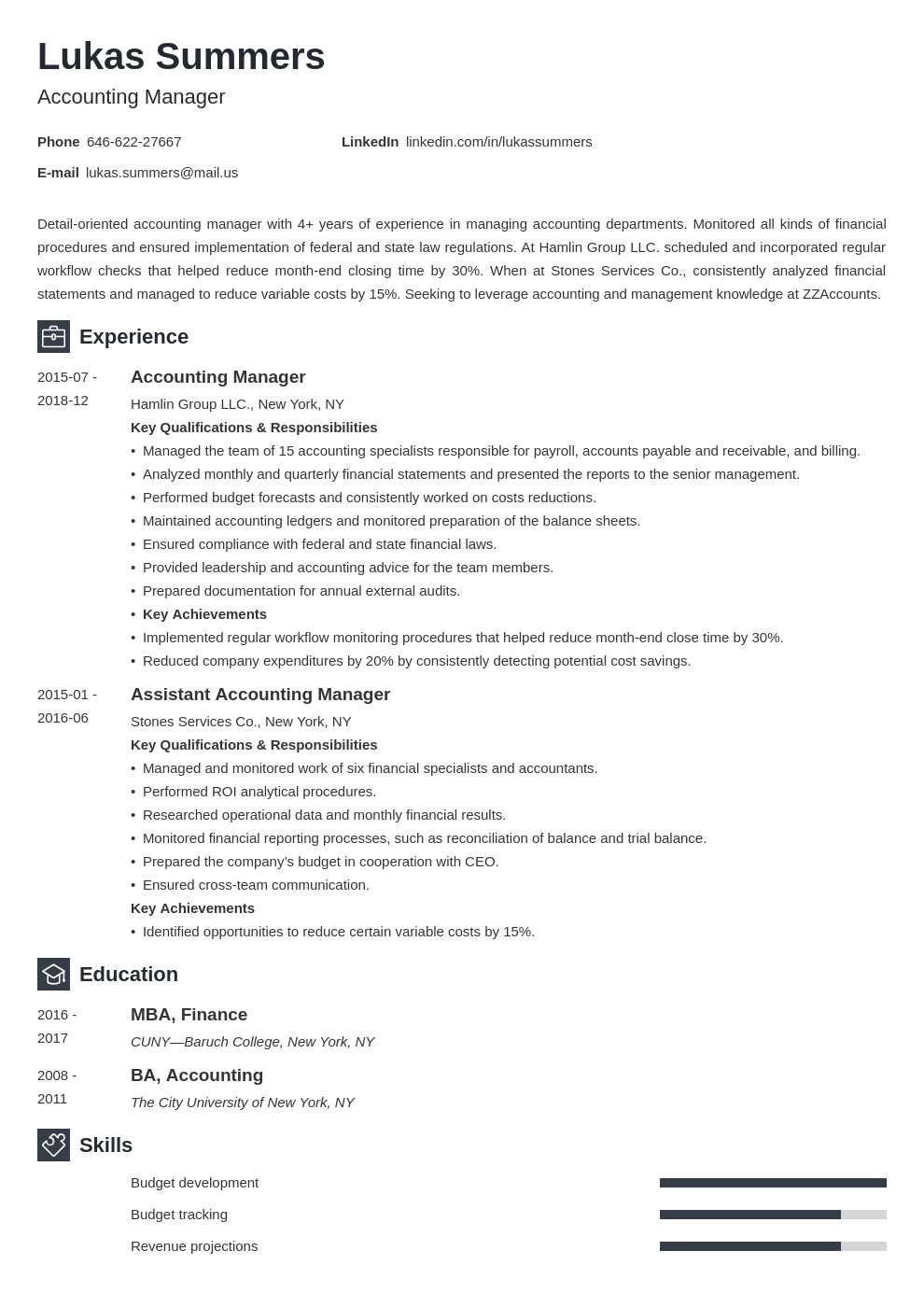 accounting manager resume example template newcast