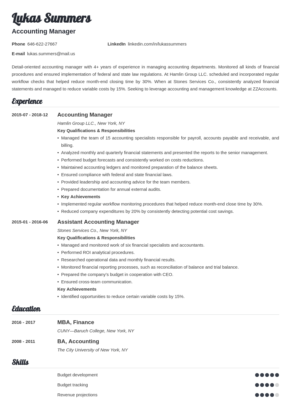 accounting manager resume example template valera