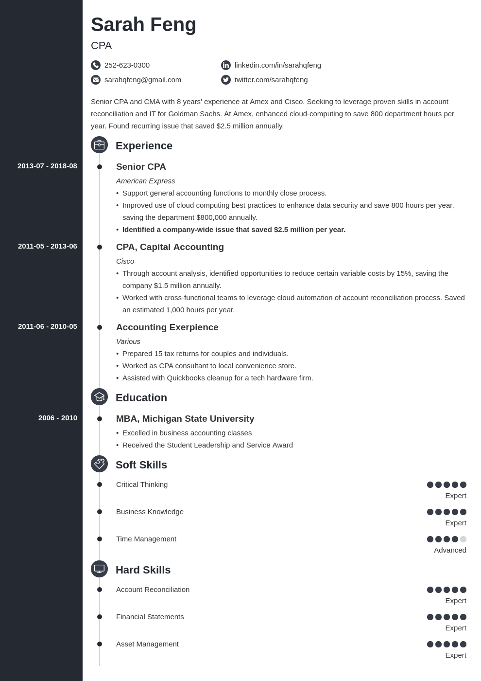 accounting resume example template concept