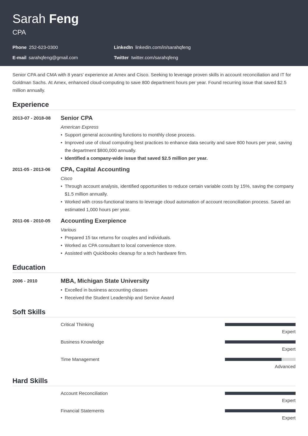accounting resume example template influx