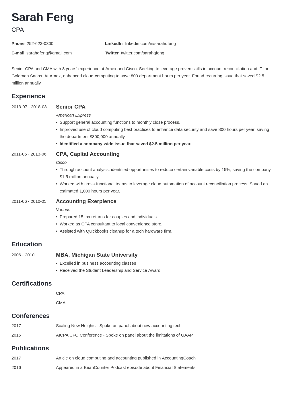 Accounting Resume Examples For An Accountant Template