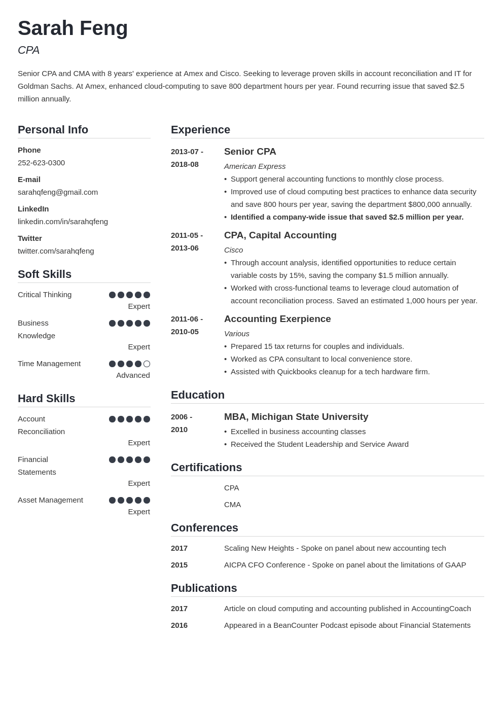 accounting resume example template simple