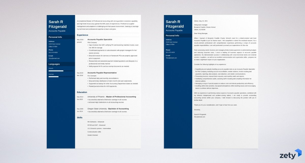 accounts payable resume and cover letter set